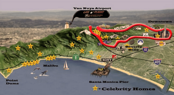 Hollywood Helicopter Tour Map